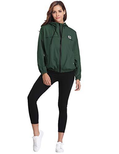 Per Tasche Cappotto Impermeabili Comode Vento Casual Antipioggia Con Verde Giacca Ragazza Donna E Cappuccio Abollria Giacche Lampo Chiusura A Scuro R6xn00