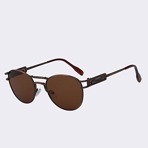 hombres Steampunk metálicas de moda TIANLIANG04 del W lente Gafas Oculos calidad vigas Vintage para de de marrón lens Brass dobles UV400 hombre gafas brown Gafas de w latón alta sol wqEqI5