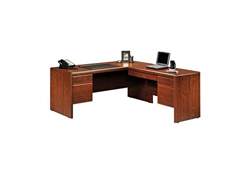 Sauder Office Furniture Cornerstone Collection Classic Cherry Reversible L-Desk with Laptop Drawer