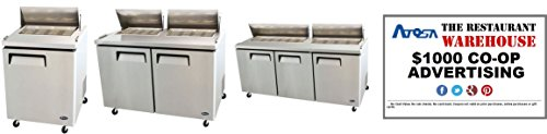 Atosa Sandwich Prep Table 48-Inch Two Door Refrigerator and $1000 Restaurant Advertising Credit by Atosa