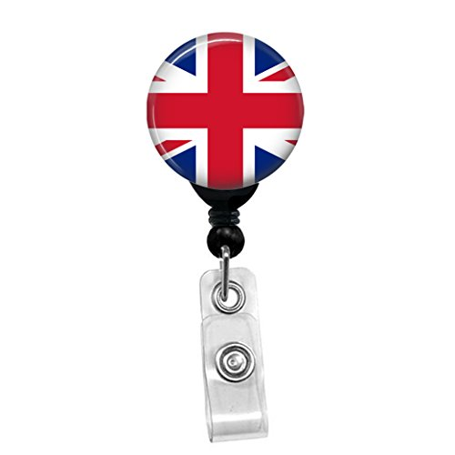 Britain British UK Union Jack Flag ID Card Name Tag Custom Badge Holder (Black Badge Reel with Spring Pinch Clip) (Jack Union Badges)