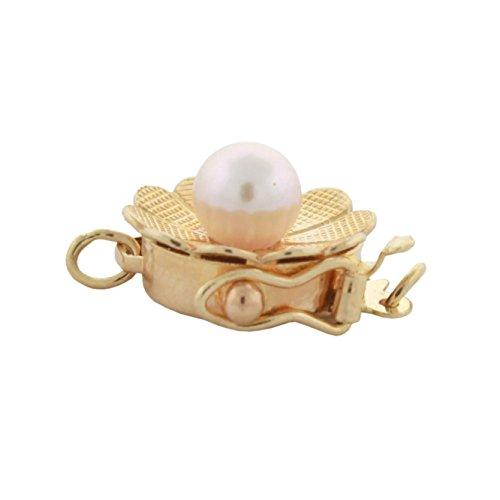 14K Yellow Gold 4mm Akoya Cultured Pearl 1 Strand Flower Design Safety Box Clasp, - Brooch Akoya Pearl