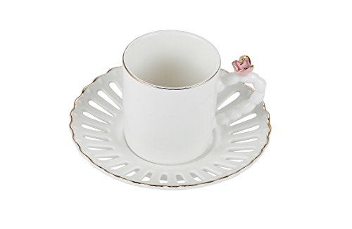 Porcelain Bone China Espresso Turkish Coffee Demitasse Set of 6 Cups + Saucers with 3D Designs (Pink Rose)