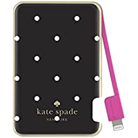kate spade new york Charging Bank, Battery Charger with Lightning Cable 1500 mAh - Larabee Dot (Black/Cream)