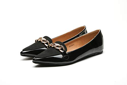 Mila Lady Arlene Stylish Patent Leather Pointed Toe Comfort Slip On Ballet Dress Flats Shoes for Women,Black -