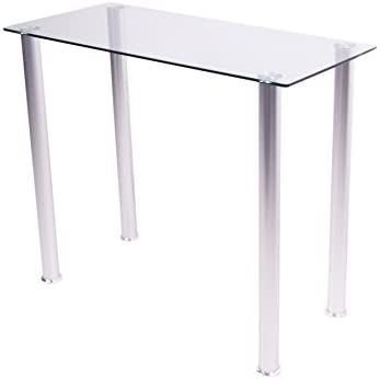 RTA Home and Office White Tempered Glass Utility Desk or Utility Stand