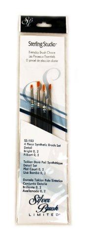 (Silver Brush SS-103 Sterling Studio Golden Taklon Short Handle Bright Per Filbert Brush Set, 4 Per Pack)