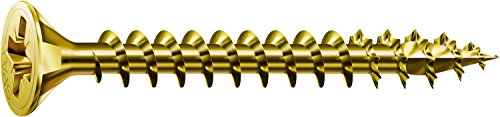 SPAX Screws Size 4mm x 20mm Flat Countersunk Pozi Zinc Yellow Passivated - 1 Box Pack (200 Pieces)