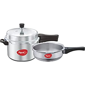 Pigeon by Stovekraft Calida Aluminium Pressure Cooker Set, 2-Pieces, Silver