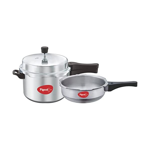 Pigeon by Stovekraft Aluminium Pressure Cooker Combo 2ltr+3ltr, Color-Silver, 2 Pieces