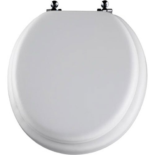 Vinyl Toilet Seat (Mayfair Soft Toilet Seat with Molded Wood Core and Classic Chrome Metal Hinges, Round, White, 13CP 000)