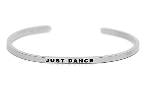 Dolceoro Inspirational Cuff Band, JUST DANCE High Polished 316L Surgical Stainless Steel