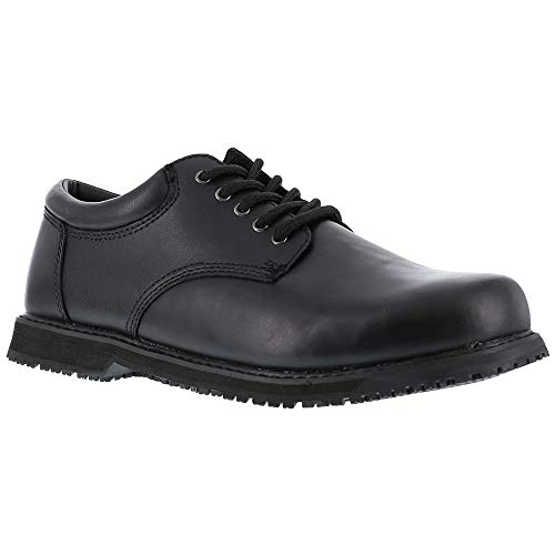 Grabbers Women's Friction Plain Toe Oxfords, Black Leather, Rubber, 4 M
