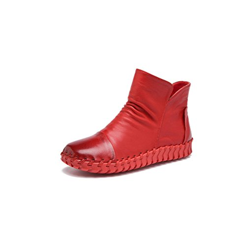 Ankle Leather Red Snow High Cow Bootie Boots Hand Women's Sewing UPSUN Shoes Genuine BxH4I