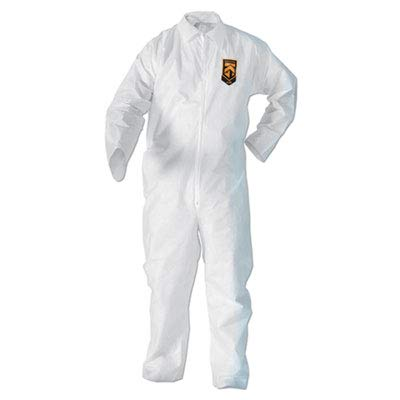 KleenGuard 49003 BP A20 Coveralls MICROFORCE Barrier SMS Fabric White Large 24/Carton