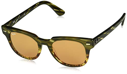 Gradient Stripe - Ray-Ban RB2168 Meteor Square Sunglasses, Green Gradient Brown Stripe/Yellow Mirror, 50 mm