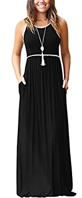 WEACZZY Women's Round Neck Sleeveless Loose Plain Vacation Days Maxi Dresses Casual Long Dresses with Pockets