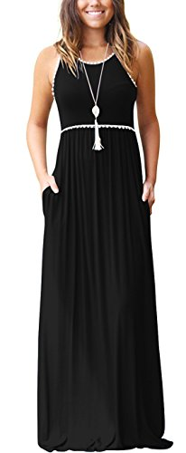 (WEACZZY Women's Round Neck Sleeveless Loose Plain Vacation Days Maxi Dresses Casual Long Dresses with Pockets (01 Black, X-Large))