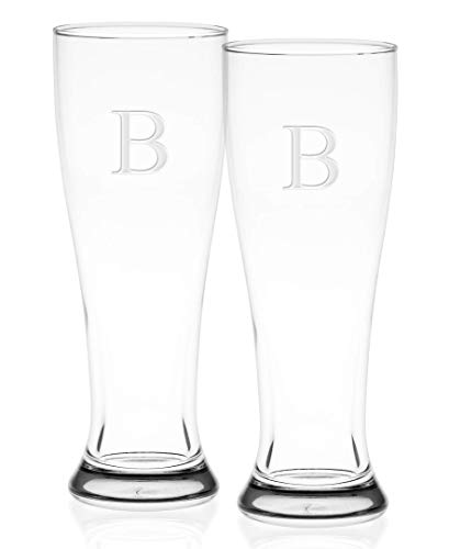 Etched Pilsner - Culver 018B-1640E-2 Deep Etched Pilsner Glass, 16-Ounce, Monogrammed Letter-B, Set of 2
