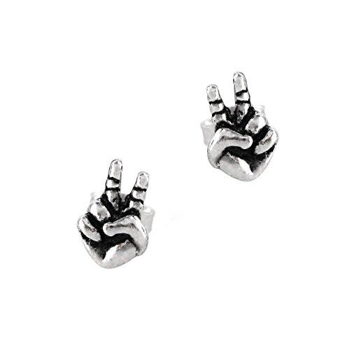 Sterling Silver Peace Sign Hands Post Earrings