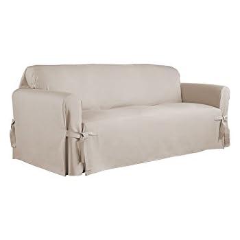 Serta Relaxed Fit Duck Furniture Slipcover For Sofa, Khaki