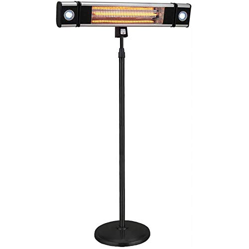 Ener-G+ Indoor/Outdoor Free Standing Electric Patio Heater with LED Light and Remote Control, Black