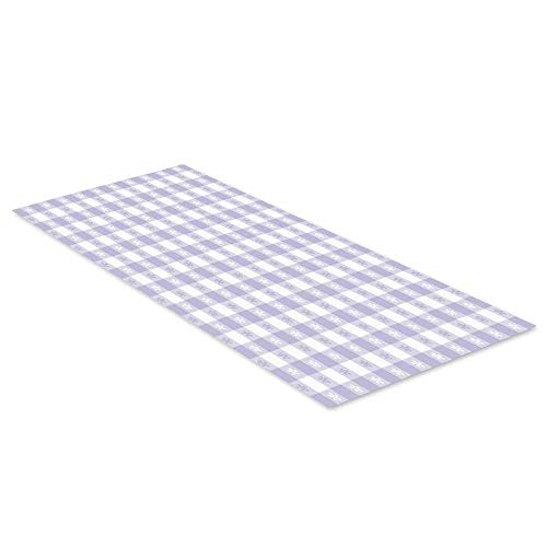 C COABALLA Lavender Waterproof Floor Sticker,Pastel Colored Classic Gingham Check Pattern with Delicate Small Blossoms Decorative for Kitchen Living Room,47.2
