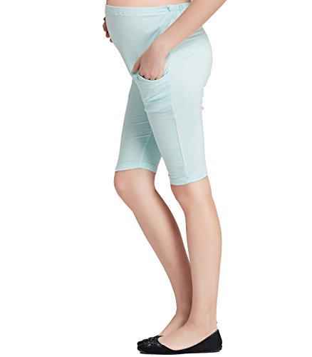 Liang Rou Maternity Belly Support Mini-Ribbed Stretch Short Leggings Light Blue M