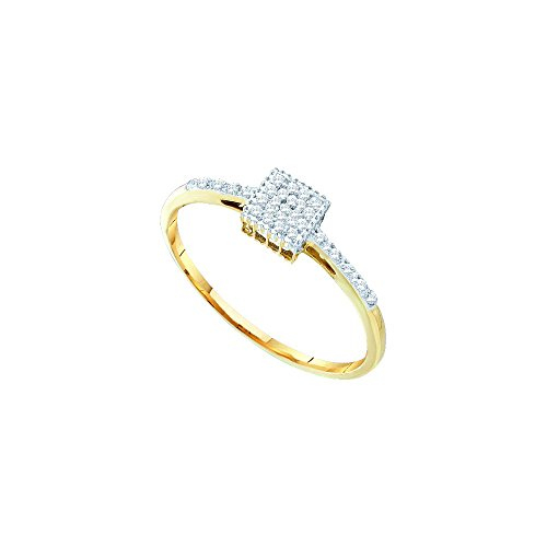 10kt Yellow Gold Womens Round Diamond Cluster Ring 1/12 Cttw by JawaFashion