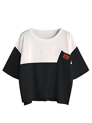 SweatyRocks Women's Color Block Long Sleeve High Low Casual Loose T-Shirt Tops (Large, Black_White #)