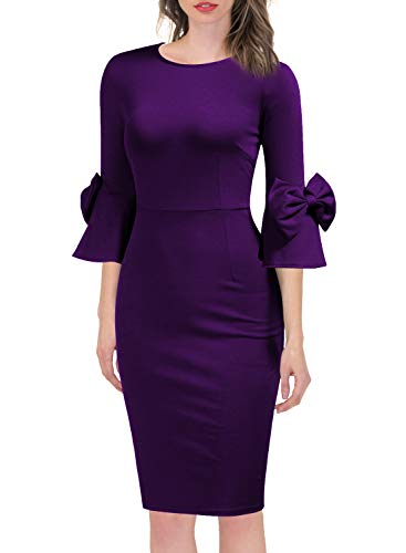 WOOSEA Women's 3/4 Bell Sleeve Pencil Shift Dress with Bow Detail Purple