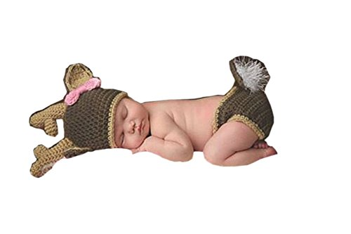 Pinbo Baby Girls Photography Prop Cute Animal Deer Knitted Crochet Costume Hat Diaper Set]()