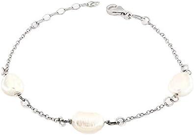 Magicmoon - Pulsera para mujer de plata 925 rodiada con cadena y perlas de río naturales - Mod. VTP10000582