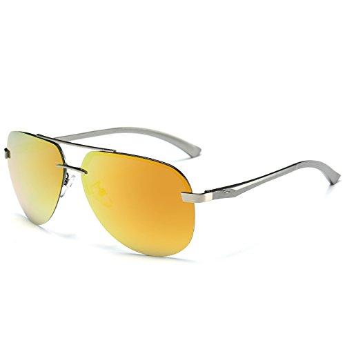 reflectante de sol estilo gafas conducción gafas de para de gafas de rojo Yellow del hombres lentes piloto sol espejo los de TIANLIANG04 Gafas frío metal de BXEwwq