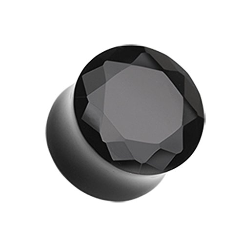 - Black Faceted Pyrex Glass Gemstone Double Flared Plugs - Sold as Pairs (00G)