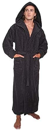 Arus Men's Hood'n Full Ankle Length Hooded Turkish Cotton Bathrobe S Black