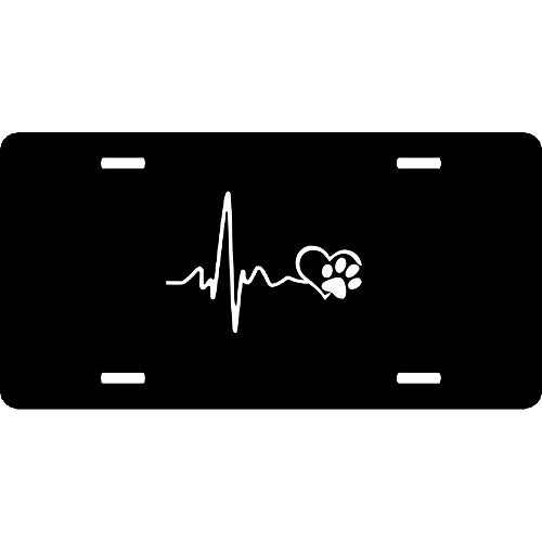 URCustomPro Heartbeat Love Dog Footprints Personalized Aluminum License Plate for US Canada Vehicles, Humor Funny Metal Auto Tag Sign for Women/Men, 12 x 6 Inch