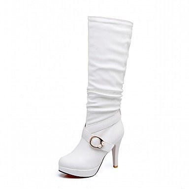 Buckle amp;Amp; 5 Women'S EU39 Novelty CN40 Winter Heel RTRY US8 Boots Knee Stiletto For Pu Leatherette UK6 Round 5 Boots Party Shoes Comfort Boots Toe Fall Fashion High UdSqg1Sw