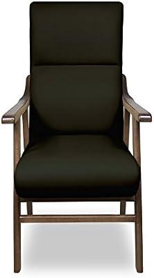 SERMAHOME Pack 2 Sillones butaca Boston, Estructura de Madera de Haya Color Nogal. Tapizado en Tela Antimanchas Color Negro. Sillon para Comedor | ...