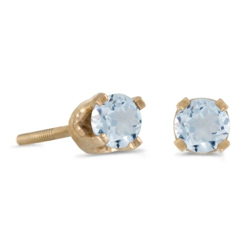 - Jewels By Lux 3 mm Petite Round Aquamarine Screw-back Stud Earrings in 14k Yellow Gold Genuine Birthstone (0.14 Cttw.)