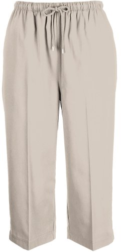 Coral Bay Petite Drawstring Twill Capris X-Large Petite Oxford tan (Drawstring Tan)