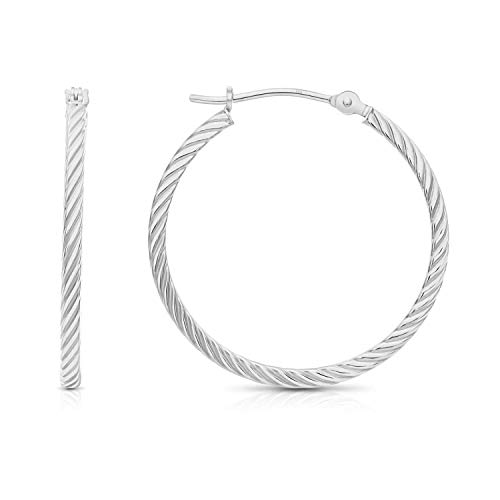 Rope 14k Gold Twisted (14k White Gold Twisted Square Tube Hoop Earrings (25mm - 1''))