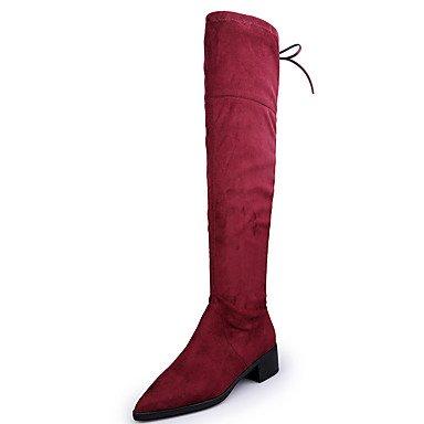 Ch & Tou Femmes-bottines-décontractées-autres-carré-daim-noir Rouge, Us7.5 / Eu38 / Uk5.5 / Cn38