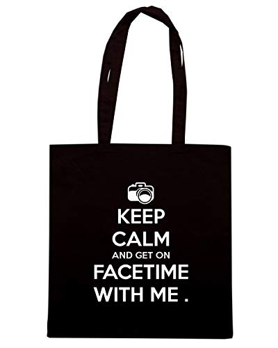 Borsa Shopper Nera TKC3183 KEEP CALM AND GET ON FACETIME WITH ME