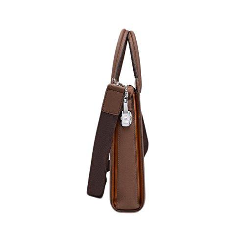 Herren Leder Business Bag Aktentasche Herren Taschen Portable Computer Taschen Schulter Messenger Bag Mit Brown Uq7C1
