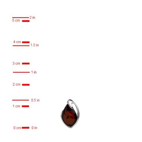 Boucles d'oreilles Ambre Rouge foncé Argent Sterling Collier 45,7cm