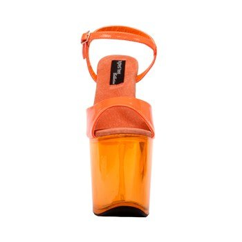 (The Highest Heel Women's FANTASY-101 UVGLOW, Neon Orange Patent, Platform Sandal, 12 B(M))
