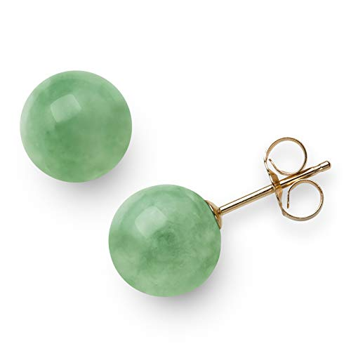 14k Stone Natural Earrings (14K Yellow Gold Natural Green Jade Round Stud Earrings (8mm))