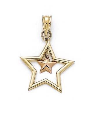14 carats-Bicolore-JewelryWeb pendentif en forme d'étoile