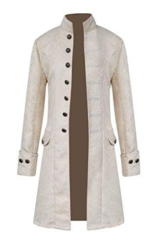 Nobility Baby Mens Medieval Steampunk Stand Collar Coat (M, White) -